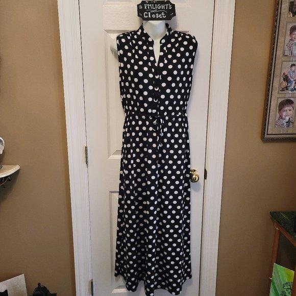 Robert Louis Medium Sleeveless Dress Black White